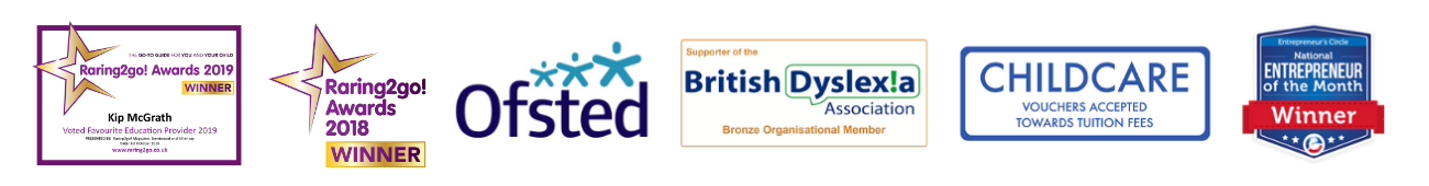 Kip McGrath Brentwood Awards, Raring To Go Award 2019/2018, Ofsted Award, British Dyslexia Award, National Entrepeneur of The Month Award